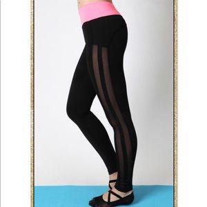 'Balance' Black Neon Pink Athletic Leggings